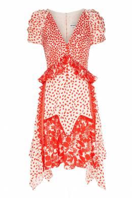 Платье-миди с красным принтом Self-portrait 532109829