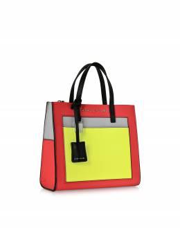 The Mini Grind - Сумка Tote из Зернистой Кожи Цветными Блоками Marc Jacobs M0013663 687 BRIGHT PINK