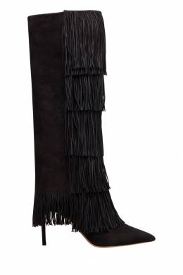 Черные сапоги с бахромой Shake Stretch Boot 85 Aquazzura 975110372