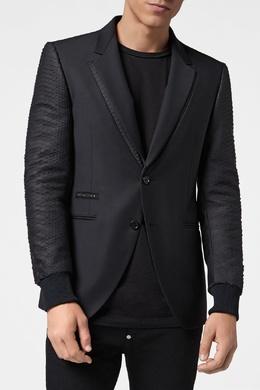 Черный пиджак с фактурной отделкой Philipp Plein 1795113170