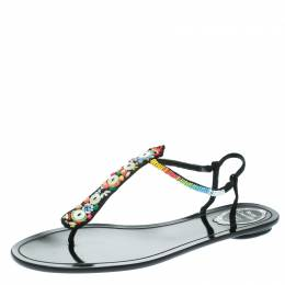Rene Caovilla Black Satin Beads Embellished Flat Thong Sandals Size 41 177731