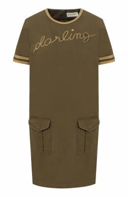 Хлопковое платье Saint Laurent 552406/Y153W