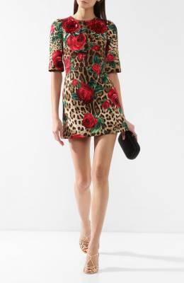 Хлопковое платье с принтом Dolce & Gabbana F6UI8Z/HSMV6