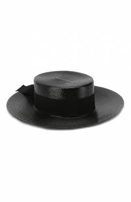 Плетеная шляпа с лентой Saint Laurent 551677/3YB50
