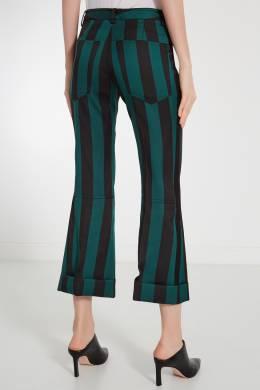 Бирюзовые брюки в черную полоску No. 21 35118792