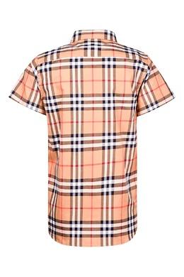 Оранжевая рубашка в клетку Burberry Kids 1253120138
