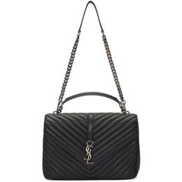 Saint Laurent Black Large Quilted College Bag 192418F04810601GB