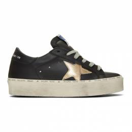 Golden Goose Black and Gold Hi Star Sneakers G35WS945.A6
