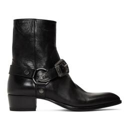 Saint Laurent Black Wyatt 40 Age Harness Boots 553604 00E00