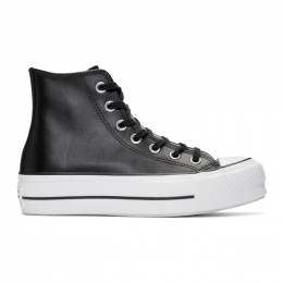 Converse Black Leather Chuck Taylor All Star Lift Clean High Sneakers 561675C