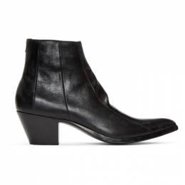 Saint Laurent Black Finn Boots 552483 0Z000