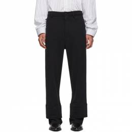 Ann Demeulemeester Black Twill Cuff Lounge Pants 1901-3820-225-099