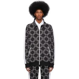 Valentino Black VLTN Grid Zip-Up Sweatshirt RV0MF03BABK