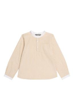 Персиковая рубашка в полоску Bonpoint 1210122521
