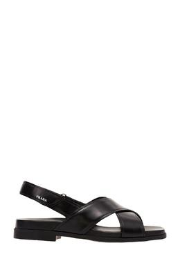 Черные сандалии из глянцевой кожи Prada 40123179