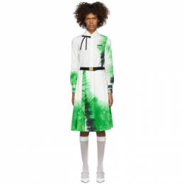 Prada White and Green Belted Tie-Dye Dress 191962F05200301GB