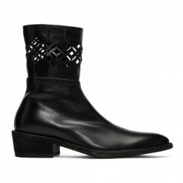 Haider Ackermann Black Laser Cut Cowboy Boots 192542M22800105GB