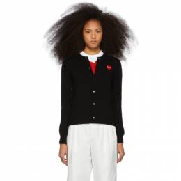 Comme Des Garcons Play Black and Red Heart Cardigan N007