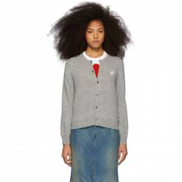 Comme Des Garcons Play Grey and White Heart Cardigan P1N065