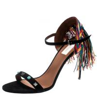 Valentino Black Suede Rolling Rockstud Embroidered Fringed Ankle Strap Open Toe Sandals Size 41 187221 - 1