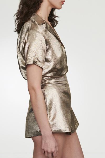 Золотистые блестящие шорты Maje 888125227 - 2