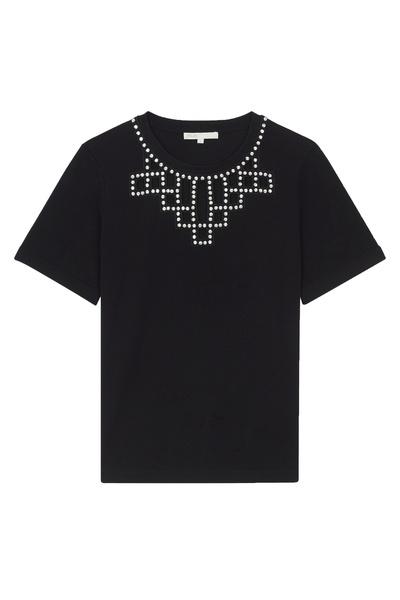 Черная футболка со стразами Maje 888125204 - 1