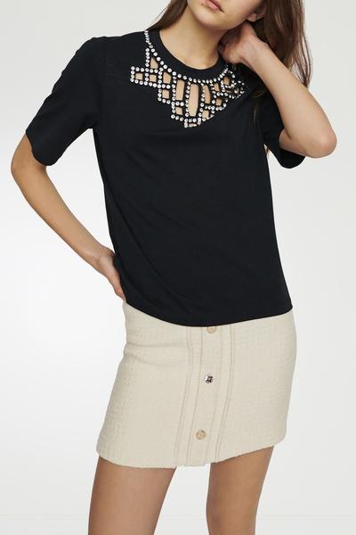 Черная футболка со стразами Maje 888125204 - 2