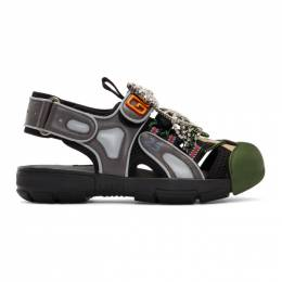 Gucci Green and Grey Tinsel Crystal Sandals 191451F12402509GB