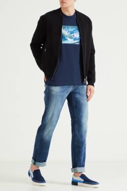 Темно-синяя футболка с принтом Bikkembergs 1487127400