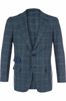 Однобортный пиджак из смеси шерсти и льна с шелком Andrea Campagna L.P. 300822/47/6/112111