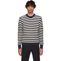 Prada Off-White and Navy Alpaca Striped Sweater 192962M20100306GB