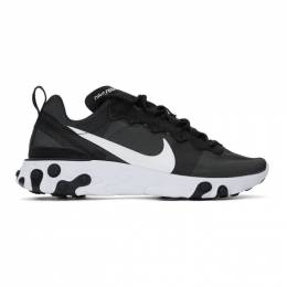 Nike Black and White React Element 55 Sneakers 192011M23703301GB