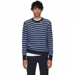 Prada Navy and Blue Striped Alpaca Crewneck Sweater 192962M20100104GB