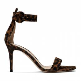 Gianvito Rossi Brown and Black Leopard Portofino Sandals 192090F12500107GB