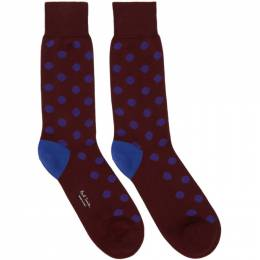 Paul Smith Burgundy Bright Spot Socks 192260M22003001GB