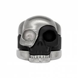 Alexander McQueen Gunmetal Divided Skull Ring Set 192259M14700802GB