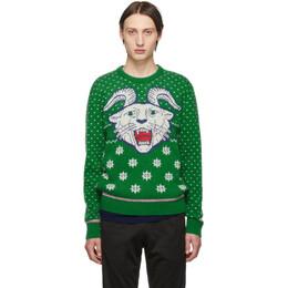 Gucci Green Wool Jacquard Sweater 192451M20100107GB
