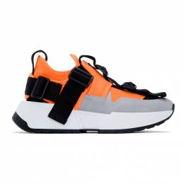 Mm6 Maison Margiela Orange and Grey Safety Strap Sneakers 192188F12800105GB