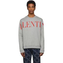 Valentino Grey and Red Logo Sweatshirt SV3MF05N5FP
