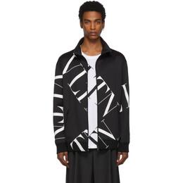 Valentino Black Macrogrid Zipped Sweater SV3MF05A5G2