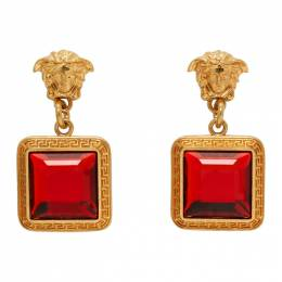 Versace Gold and Red Square Crystal Medusa Earrings DG2H060 DJMX