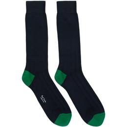Paul Smith Navy and Green Mercerized Plain Socks 192260M22001501GB