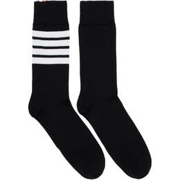Thom Browne Black 4-Bar Mid-Calf Socks 192381M22000101GB