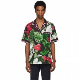 Dolce & Gabbana Black and Green Anthurium Hawaiian Shirt 192003M19201703GB