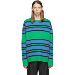 Acne Studios Green and Blue Nimah Face Crewneck Sweater C60009