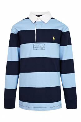 Поло в сине-голубую полоску Polo Ralph Lauren Kids 2669134101