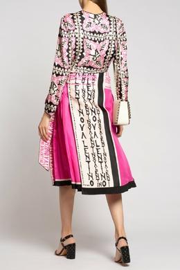 Платье-миди с комбинированной юбкой Valentino 210134493