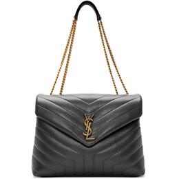 Saint Laurent Grey Medium Loulou Bag 192418F04806101GB