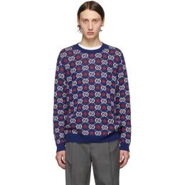 Gucci Blue GG Crewneck Sweater 192451M20100201GB
