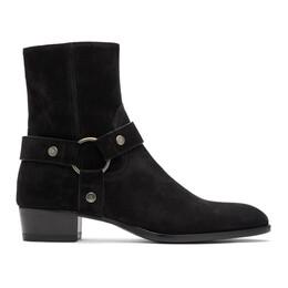 Saint Laurent Black Wyatt Harness Boots 573069BT300